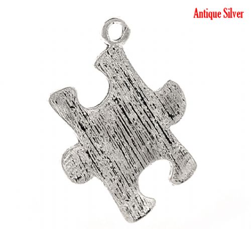 "5 Antique Silver Puzzle Jigsaw Charm  23x17mm(7/8""x5/8"")"